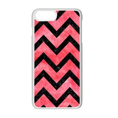 Chevron9 Black Marble & Red Watercolor Apple Iphone 7 Plus White Seamless Case