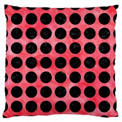Circles1 Black Marble & Red Watercolor Standard Flano Cushion Case (two Sides)