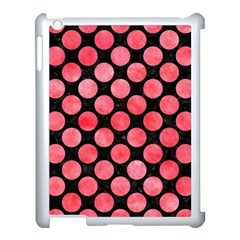 Circles2 Black Marble & Red Watercolor (r) Apple Ipad 3/4 Case (white)