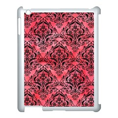 Damask1 Black Marble & Red Watercolor Apple Ipad 3/4 Case (white)