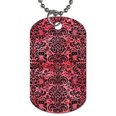 Damask2 Black Marble & Red Watercolor Dog Tag (one Side)