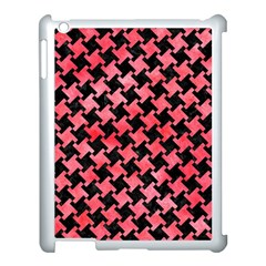 Houndstooth2 Black Marble & Red Watercolor Apple Ipad 3/4 Case (white)