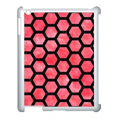 Hexagon2 Black Marble & Red Watercolor Apple Ipad 3/4 Case (white)