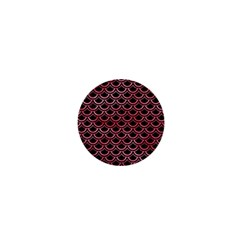 Scales2 Black Marble & Red Watercolor (r) 1  Mini Buttons