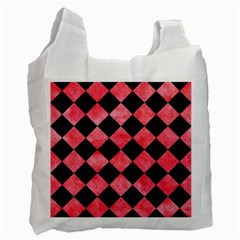 Square2 Black Marble & Red Watercolor Recycle Bag (one Side)
