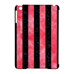 Stripes1 Black Marble & Red Watercolor Apple Ipad Mini Hardshell Case (compatible With Smart Cover)