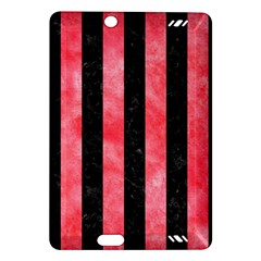 Stripes1 Black Marble & Red Watercolor Amazon Kindle Fire Hd (2013) Hardshell Case