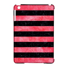 Stripes2 Black Marble & Red Watercolor Apple Ipad Mini Hardshell Case (compatible With Smart Cover)