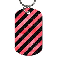 Stripes3 Black Marble & Red Watercolor (r) Dog Tag (one Side)
