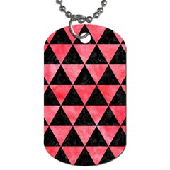 Triangle3 Black Marble & Red Watercolor Dog Tag (one Side)