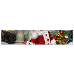 Sanata Claus With Snowman And Christmas Tree Flano Scarf (small)