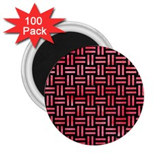 Woven1 Black Marble & Red Watercolor (r) 2 25  Magnets (100 Pack)