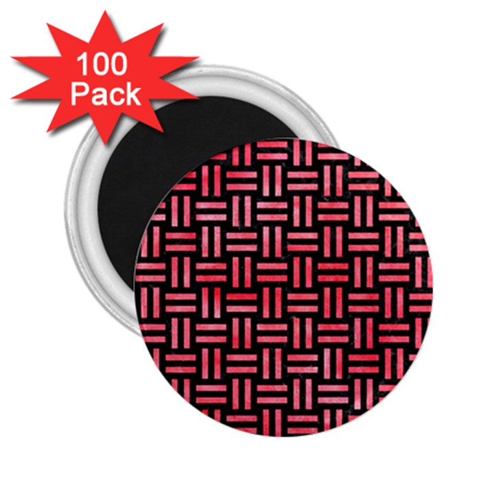WOVEN1 BLACK MARBLE & RED WATERCOLOR (R) 2.25  Magnets (100 pack)