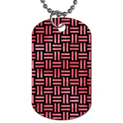 Woven1 Black Marble & Red Watercolor (r) Dog Tag (one Side)