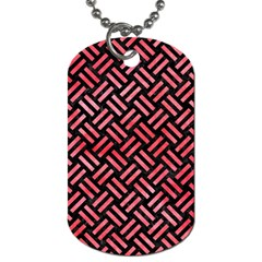 Woven2 Black Marble & Red Watercolor (r) Dog Tag (one Side)