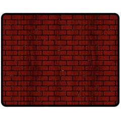 Brick1 Black Marble & Red Wood Fleece Blanket (medium)