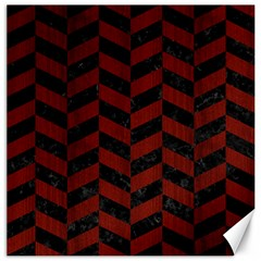 Chevron1 Black Marble & Red Wood Canvas 20  X 20