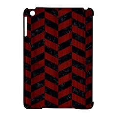 Chevron1 Black Marble & Red Wood Apple Ipad Mini Hardshell Case (compatible With Smart Cover)