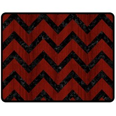 Chevron9 Black Marble & Red Wood Fleece Blanket (medium)