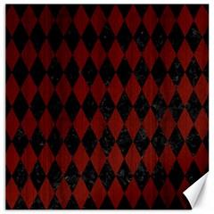 Diamond1 Black Marble & Red Wood Canvas 20  X 20