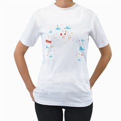 Music Cloud Heart Love Valentine Star Polka Dots Rainbow Mask Sky Women s T Shirt (white) (two Sided)