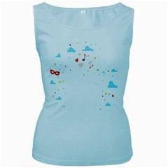 Music Cloud Heart Love Valentine Star Polka Dots Rainbow Mask Sky Women s Baby Blue Tank Top