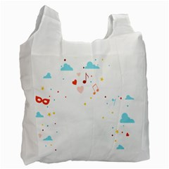 Music Cloud Heart Love Valentine Star Polka Dots Rainbow Mask Sky Recycle Bag (two Side)