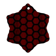 Hexagon2 Black Marble & Red Wood Ornament (snowflake)