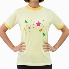 Star Triangle Space Rainbow Women s Fitted Ringer T Shirts