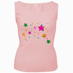 Star Triangle Space Rainbow Women s Pink Tank Top