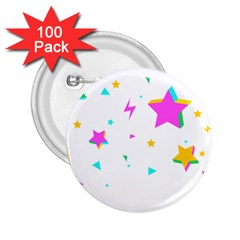 Star Triangle Space Rainbow 2 25  Buttons (100 Pack)
