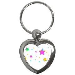Star Triangle Space Rainbow Key Chains (heart)