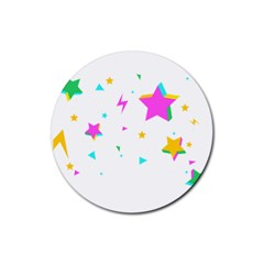 Star Triangle Space Rainbow Rubber Round Coaster (4 Pack)