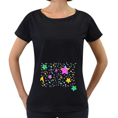Star Triangle Space Rainbow Women s Loose Fit T Shirt (black)