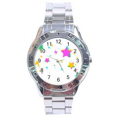 Star Triangle Space Rainbow Stainless Steel Analogue Watch