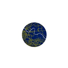 Map Art City Linbe Yellow Blue 1  Mini Magnets