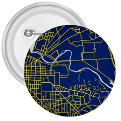 Map Art City Linbe Yellow Blue 3  Buttons