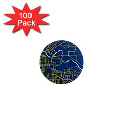 Map Art City Linbe Yellow Blue 1  Mini Magnets (100 Pack)