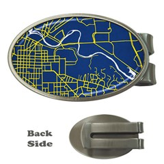 Map Art City Linbe Yellow Blue Money Clips (oval)