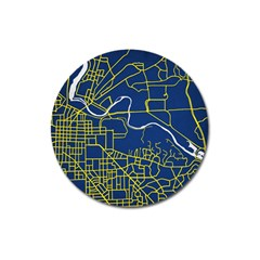 Map Art City Linbe Yellow Blue Magnet 3  (round)