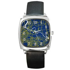 Map Art City Linbe Yellow Blue Square Metal Watch