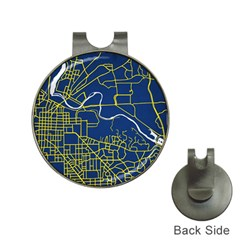 Map Art City Linbe Yellow Blue Hat Clips With Golf Markers