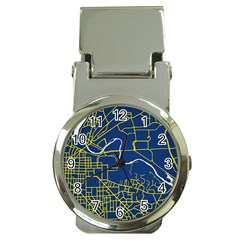 Map Art City Linbe Yellow Blue Money Clip Watches