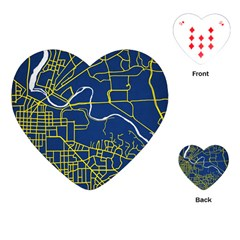 Map Art City Linbe Yellow Blue Playing Cards (heart)