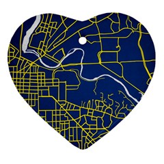 Map Art City Linbe Yellow Blue Heart Ornament (two Sides)