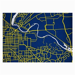 Map Art City Linbe Yellow Blue Large Glasses Cloth (2 Side)