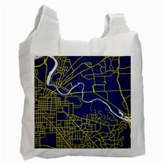 Map Art City Linbe Yellow Blue Recycle Bag (one Side)