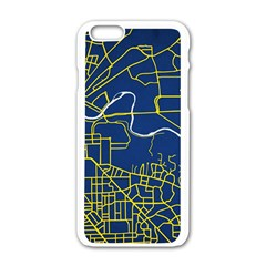 Map Art City Linbe Yellow Blue Apple Iphone 6/6s White Enamel Case