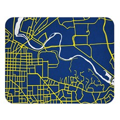 Map Art City Linbe Yellow Blue Double Sided Flano Blanket (large)