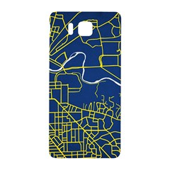 Map Art City Linbe Yellow Blue Samsung Galaxy Alpha Hardshell Back Case